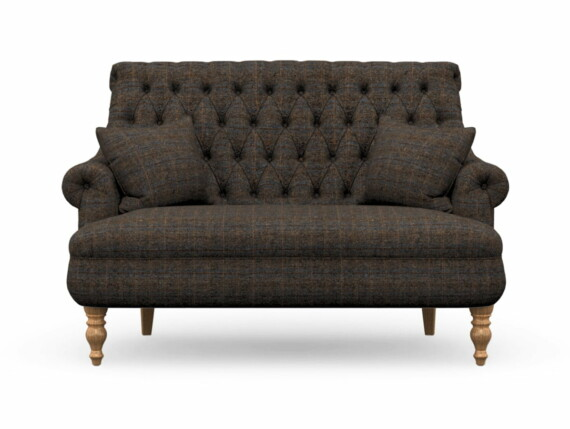 Harris Tweed Herringbone Charcoal, Pickering Compact Sofa in Harris Tweed