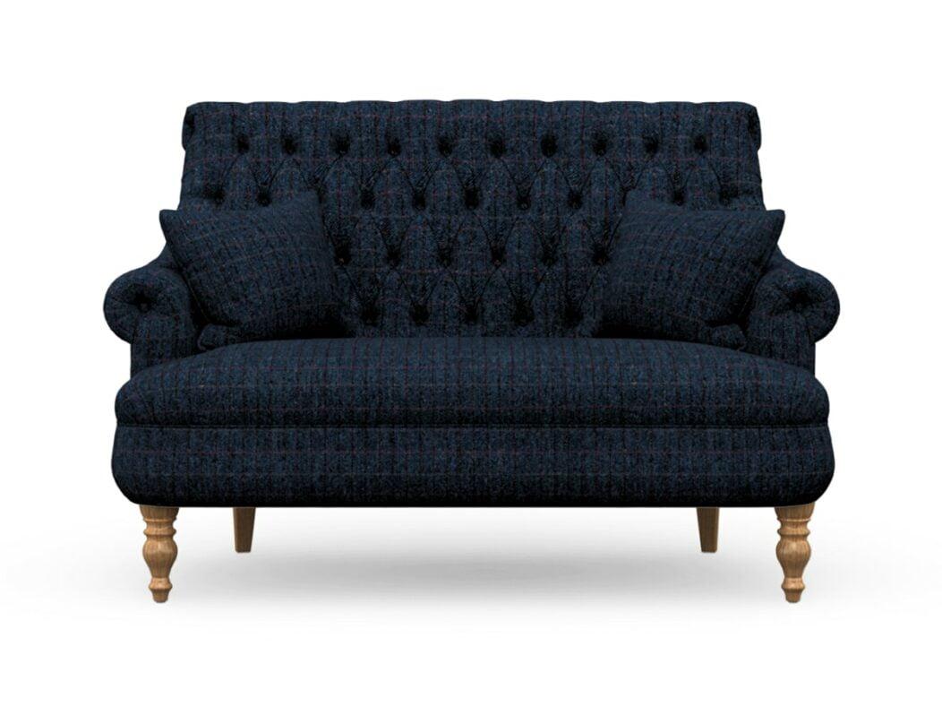 Harris Tweed Herringbone Denim, Pickering Compact Sofa In Harris Tweed