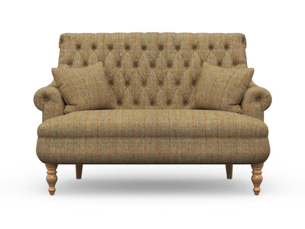Harris Tweed Herringbone Moss, Pickering Compact Sofa In Harris Tweed