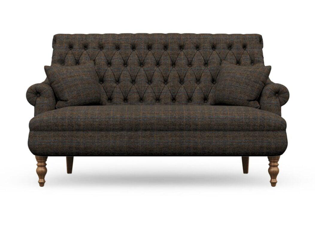 Harris Tweed Herringbone Charcoal, Pickering 3 Seater Compact Sofa In Harris Tweed