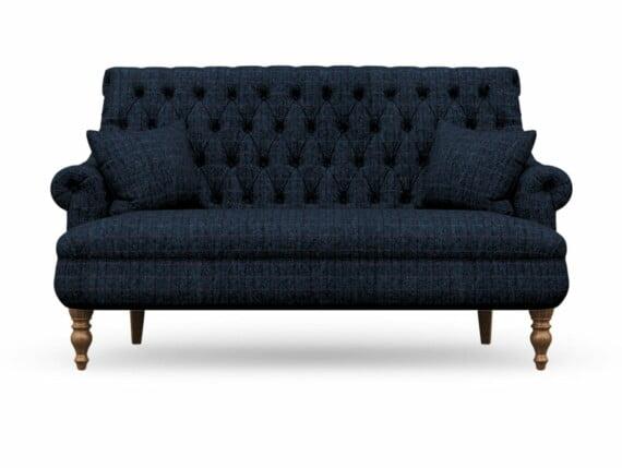 Harris Tweed Herringbone Denim, Pickering 3 Seater Compact Sofa in Harris Tweed