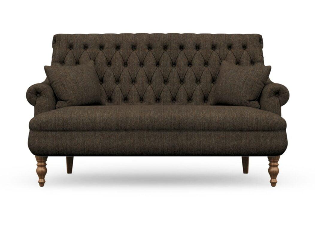Harris Tweed Herringbone Forest, Pickering 3 Seater Compact Sofa In Harris Tweed