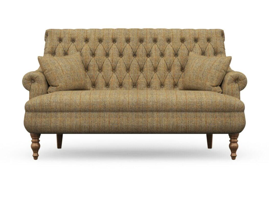 Harris Tweed Herringbone Moss, Pickering 3 Seater Compact Sofa in Harris Tweed