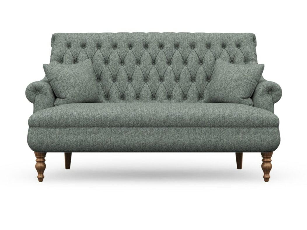 Harris Tweed Herringbone Slate, Pickering 3 Seater Compact Sofa In Harris Tweed