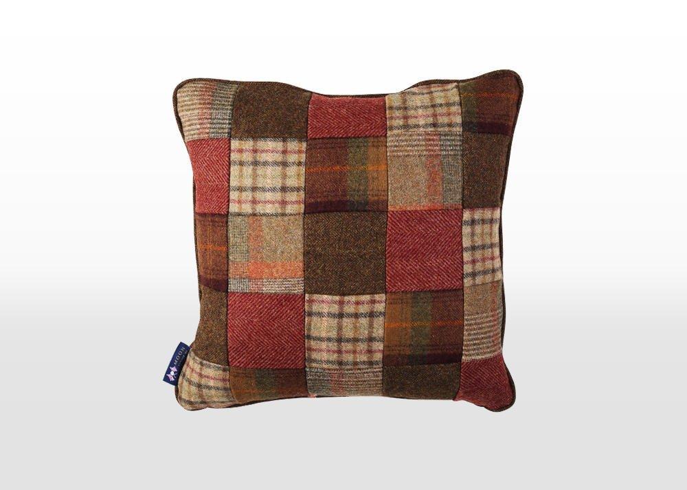 warm patchwork cushion, wool patchwork cushion