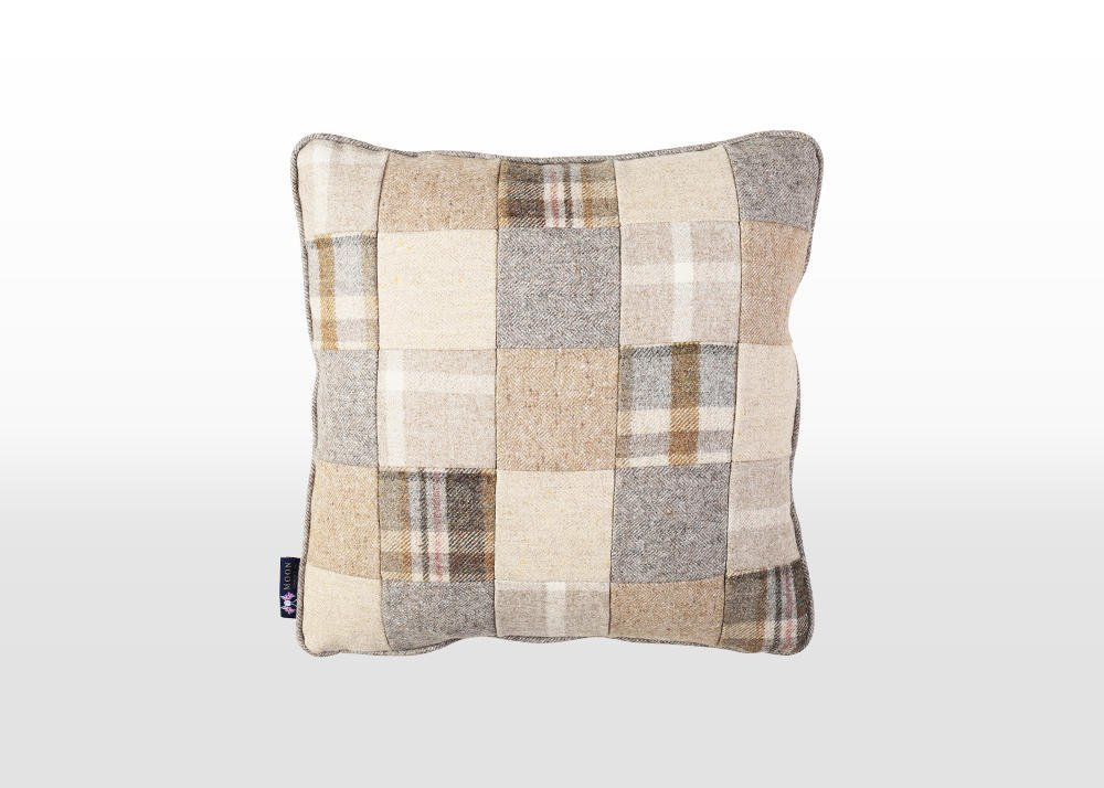 beige patchwork cushion, wool patchwork cushion