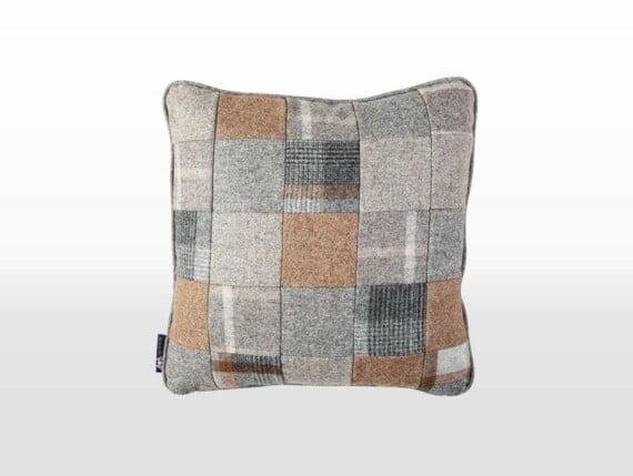 grey patchwork cushion, wool patchwork cushion