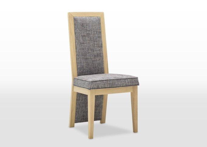 oskar upholstered dining chair angled finsbury steel