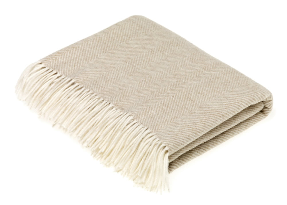 herringbone beige throw