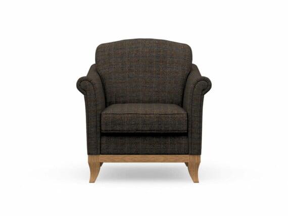Harris Tweed Weybourne Armchair in Herringbone Charcoal with Waxed coloured legs