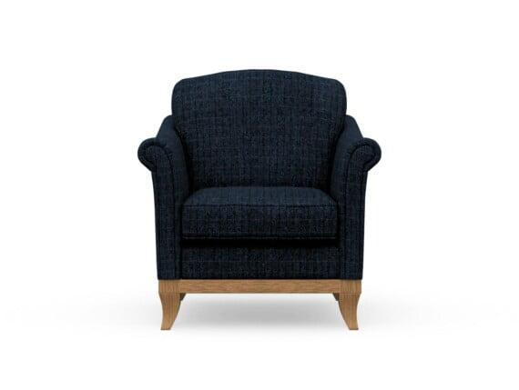 Harris Tweed Weybourne Armchair in Herringbone Denim with Waxed coloured legs