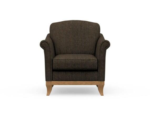 Harris Tweed Weybourne Armchair in Herringbone Forest with Waxed coloured legs