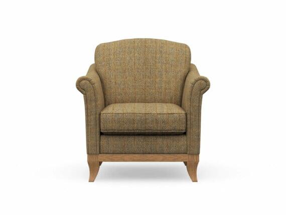 Harris Tweed Weybourne Armchair in Herringbone Moss with Waxed coloured legs