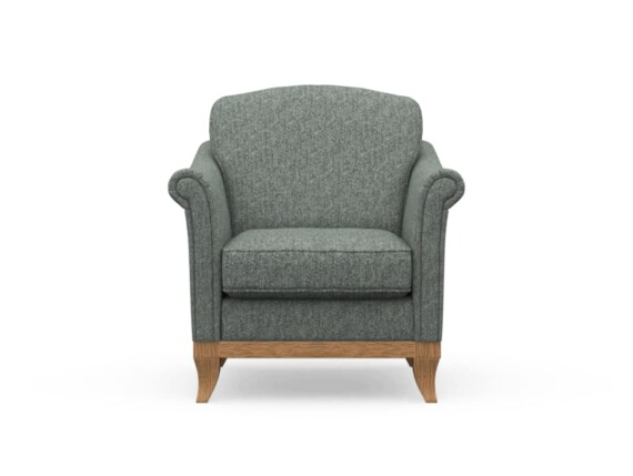 Harris Tweed Weybourne Armchair in Herringbone Slate with Waxed coloured legs