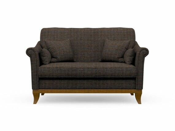 Harris Tweed Weybourne Compact Sofa in Herringbone Charcoal with Light Oak coloured legs