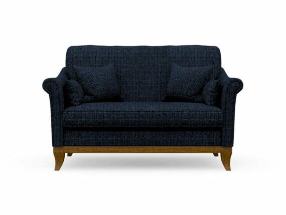 Harris Tweed Weybourne Compact Sofa in Herringbone Denim with Light Oak coloured legs