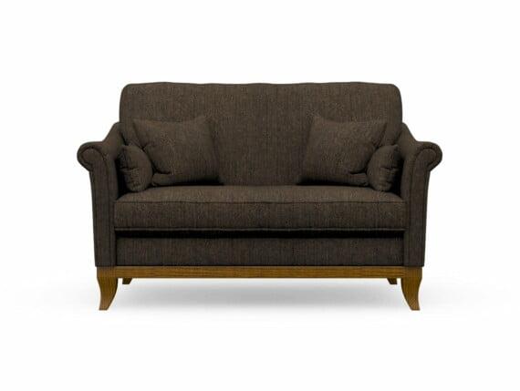 Harris Tweed Weybourne Compact Sofa in Herringbone Forest with Light Oak coloured legs