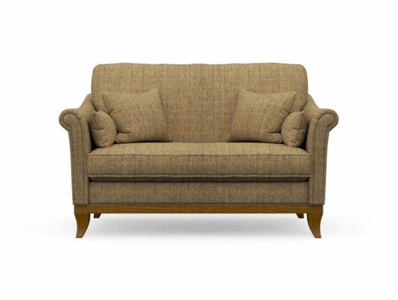 Harris Tweed Weybourne Compact Sofa in Herringbone Moss with Light Oak coloured legs