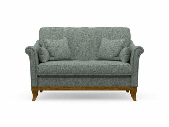 Harris Tweed Weybourne Compact Sofa in Herringbone Slate with Light Oak coloured legs