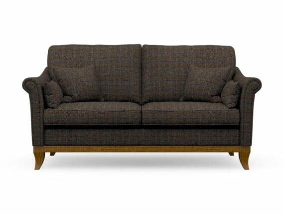 Harris Tweed Weybourne Medium Sofa in Herringbone Charcoal with Light Oak coloured legs