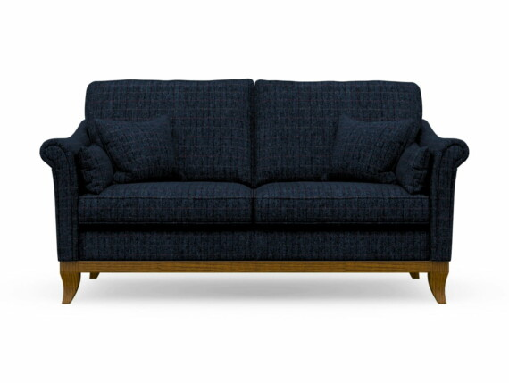 Harris Tweed Weybourne Medium Sofa in Herringbone Denim with Light Oak coloured legs