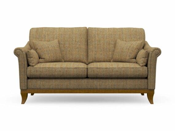 Harris Tweed Weybourne Medium Sofa in Herringbone Moss with Light Oak coloured legs