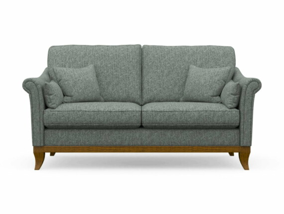 Harris Tweed Weybourne Medium Sofa in Herringbone Slate with Light Oak coloured legs