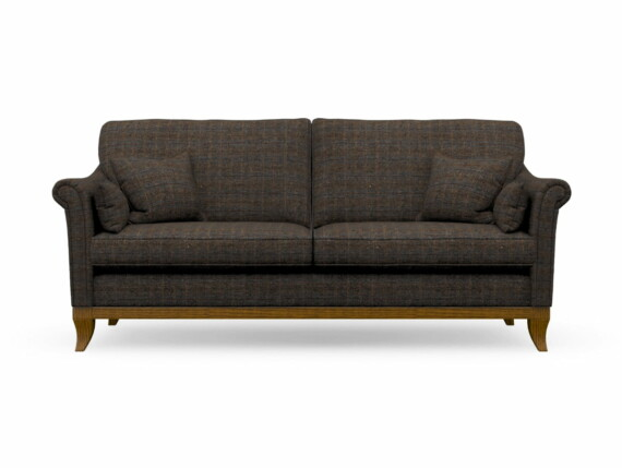 Harris Tweed Weybourne Large Sofa in Herringbone Forest with Light Oak coloured legs