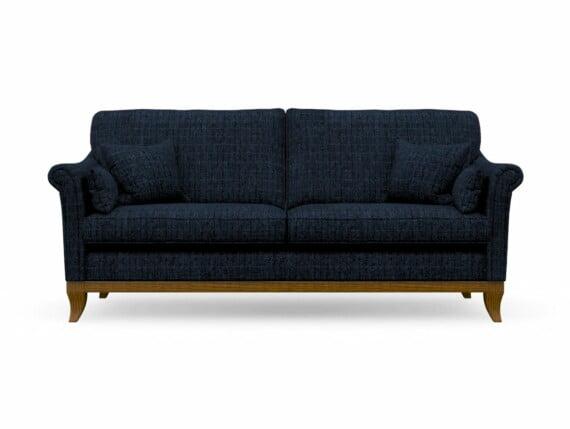 Harris Tweed Weybourne Large Sofa in Herringbone Denim with Light Oak coloured legs