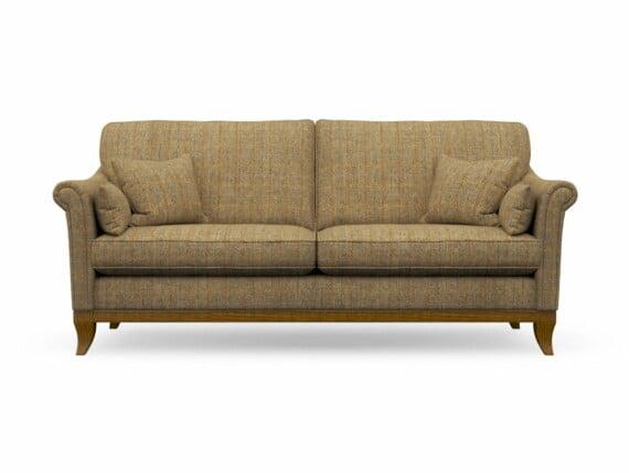 Harris Tweed Weybourne Large Sofa in Herringbone Moss with Light Oak coloured legs