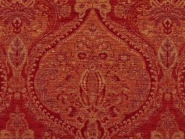 Benjamina Cloisters Ruby fabric, red patterned upholstery fabric