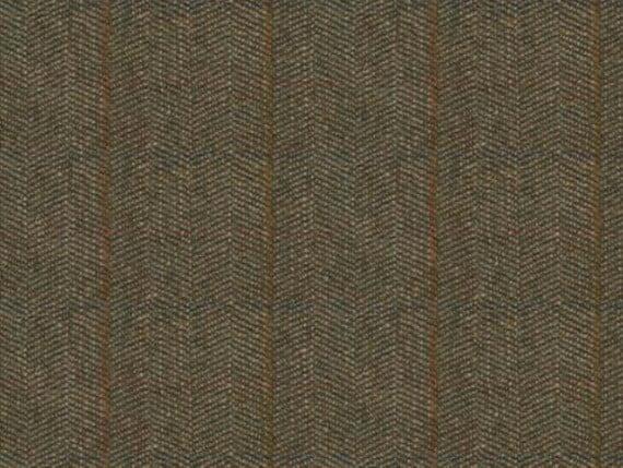 herringbone fern, harris tweed upholstery fabric, green harris tweed