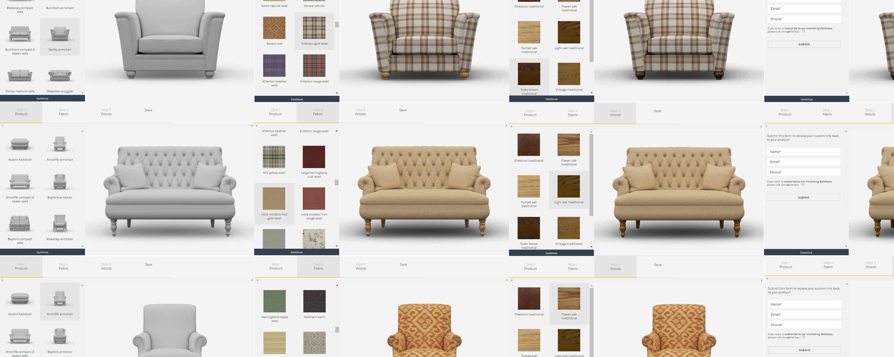 configurate your own armchair, design your own chair, product customisator